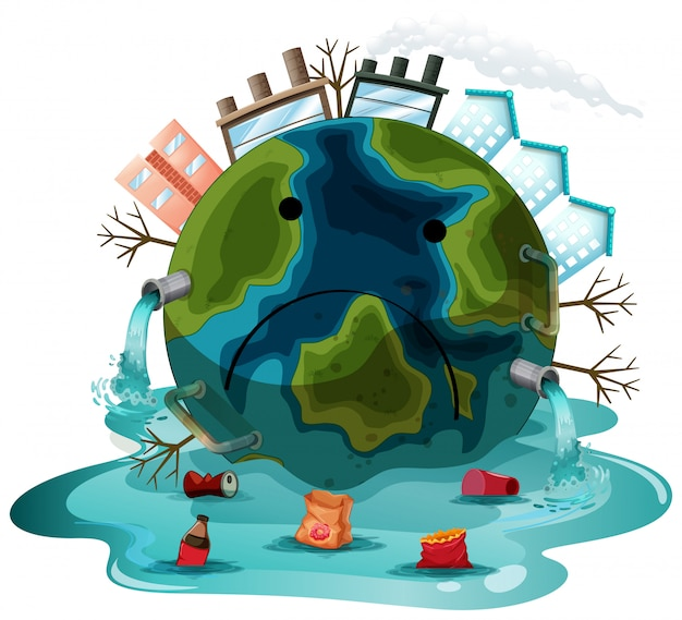 A polluted earth character Free Vector