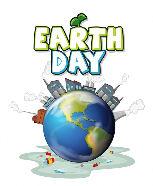 A polluted earth day illustration Free Vector