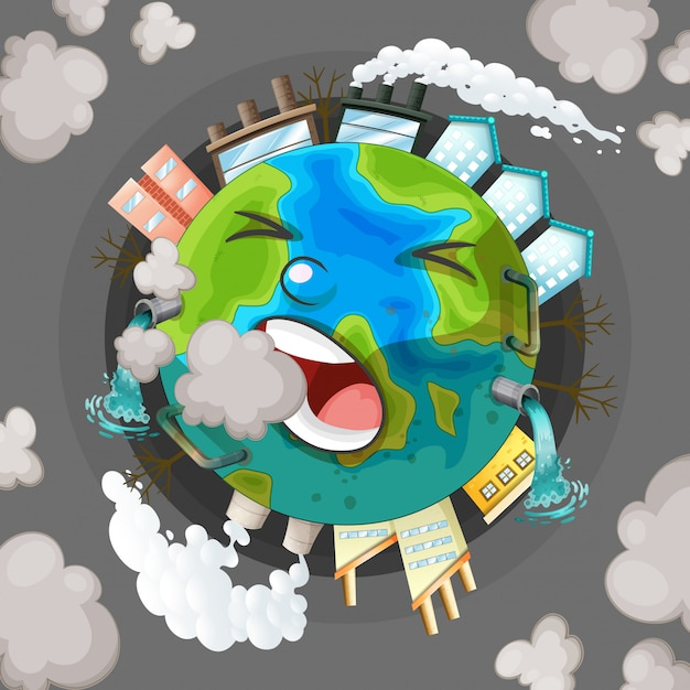 A polluted earth icon Free Vector