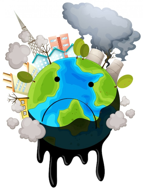 A polluted earth Free Vector