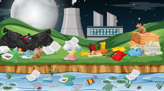 Polluted enviroment with factory Free Vector