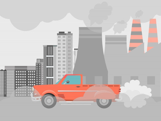 Pollution air by cars vector illustration. cities road smog, factories and industrial smoke. urban traffic jam with toxic gas environment pollution. Premium Vector