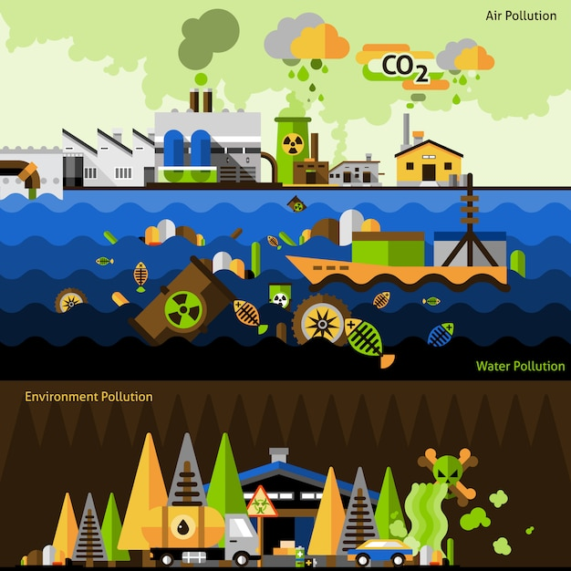 Pollution banners set Free Vector