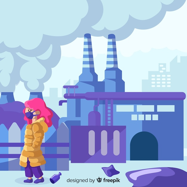 Pollution concept background flat design Free Vector