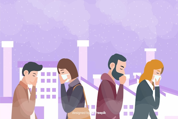 Pollution concept background flat style Free Vector