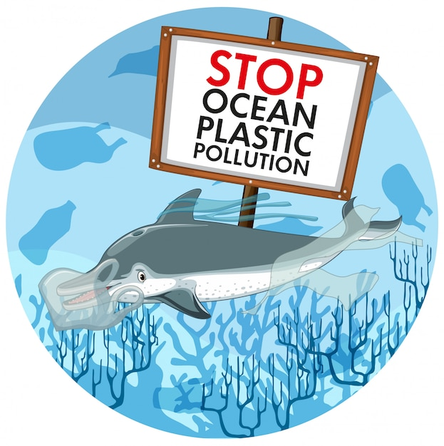 Pollution control scene with dolphin and plastic bags Free Vector
