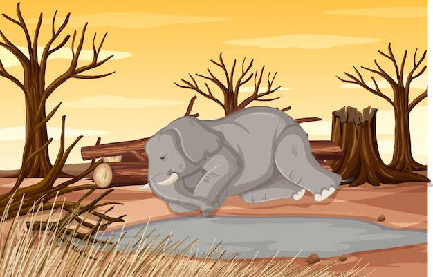 Pollution control scene with elephant and drought Free Vector