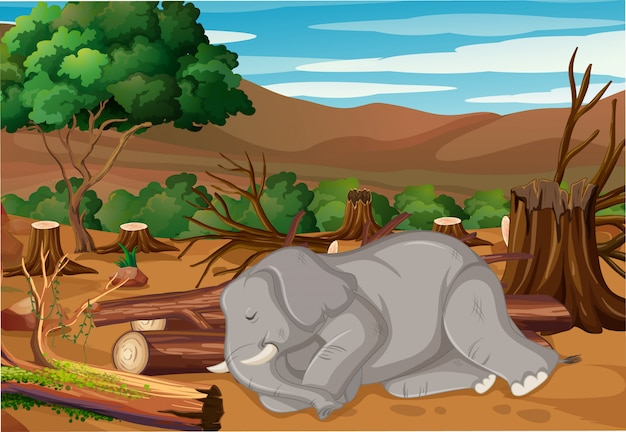Pollution control scene with elephant dying in forest Free Vector