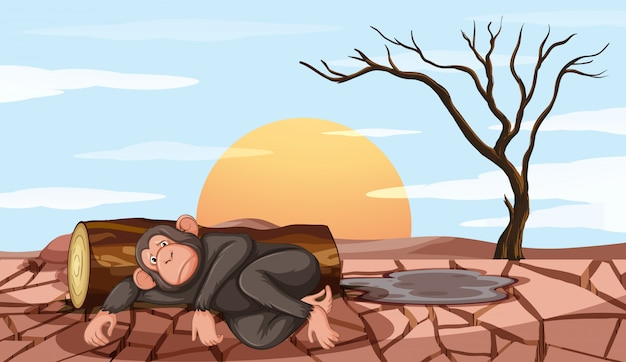 Pollution control scene with monkey and drought Free Vector