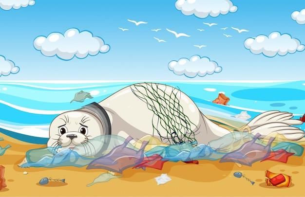 シールとビニール袋による汚染防止シーン 無料ベクター
