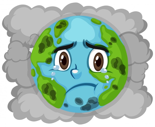Pollution on earth with dirty smoke in background Premium Vector