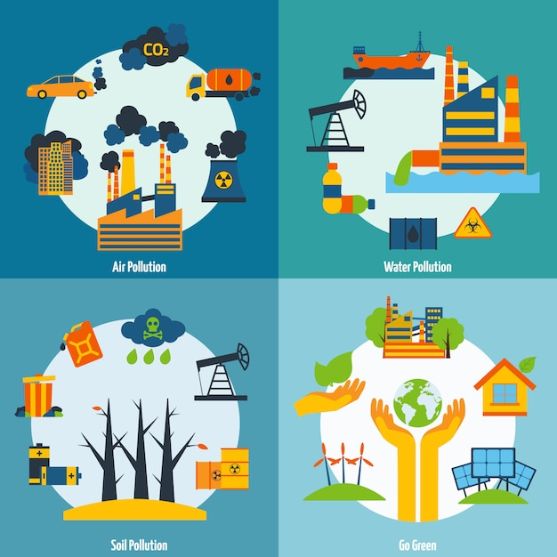Pollution and ecology set Free Vector
