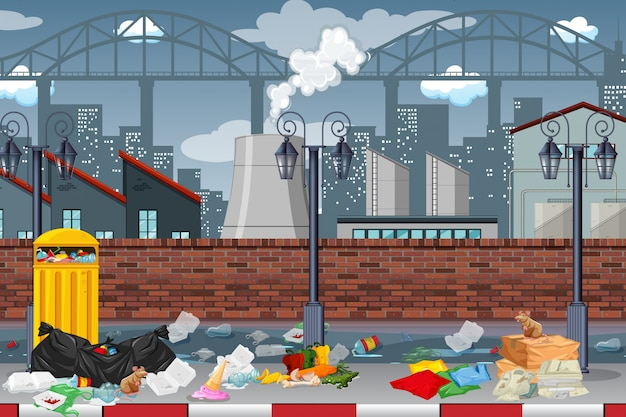 Pollution in factory town Premium Vector