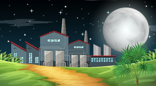 Pollution from factory theme scene in nature Free Vector