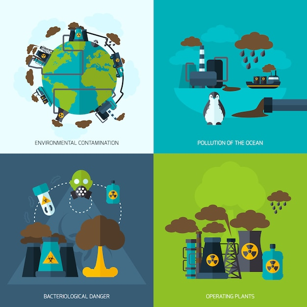 Pollution icon flat Free Vector