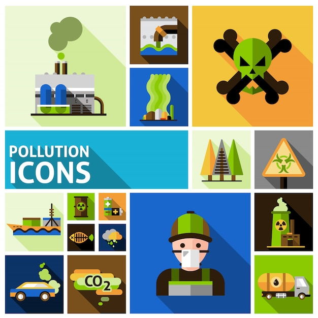 Pollution icons set Free Vector