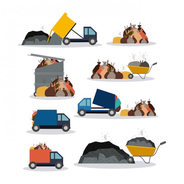 Pollution illustration. Premium Vector