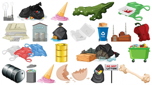Pollution, litter, rubbish and trash objects isolated Free Vector