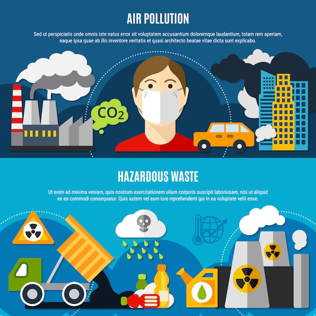 Pollution problem banners set Free Vector
