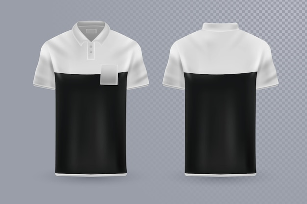 ポロシャツコレクションフロントとバックのコンセプト 無料ベクター