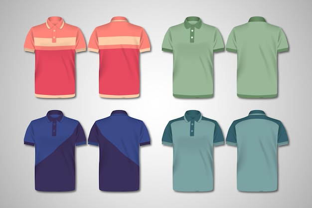 Polo shirt front and back pack Free Vector