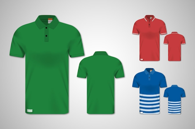 Polo shirt front and back set Free Vector