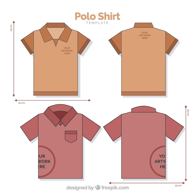 Polo shirt template with mesures Vector Free Download
