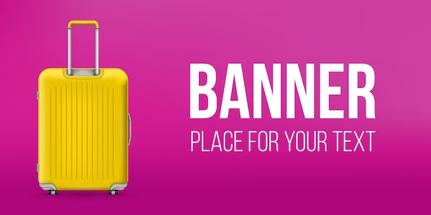 Polycarbonate travel plastic suitcase banner Premium Vector