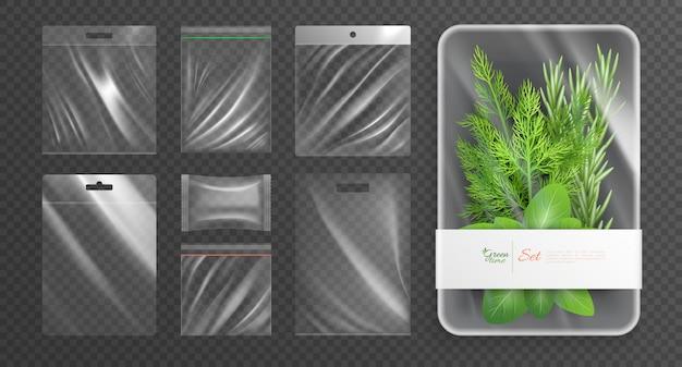 L'insieme realistico isolato pacchetti di imballaggio di plastica del polietilene con la descrizione di tempo verde sull'illustrazione di vettore del pacchetto Vettore gratuito