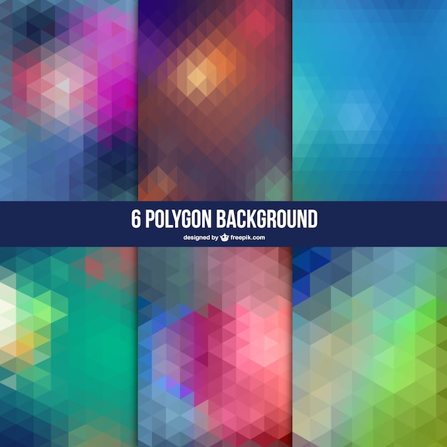 Polygon abstract background set Free Vector