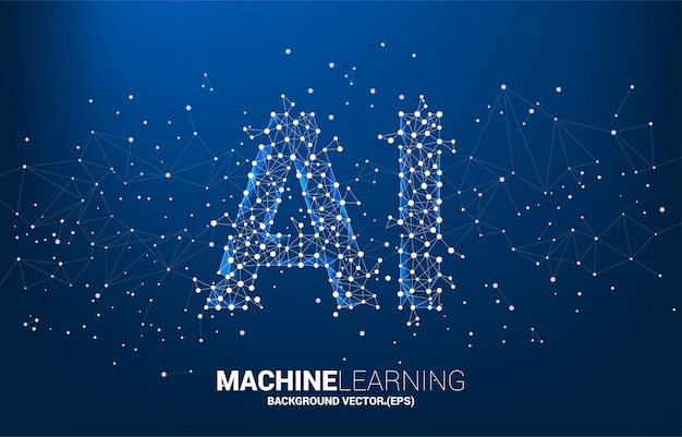 Polygon dot connect line shaped ai. machine learning and artificial intelligence. Premium Vector