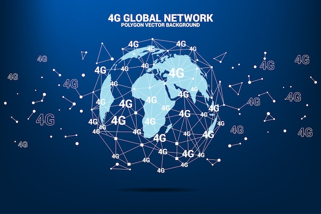 Polygon dot connect line with 4g around world map globe