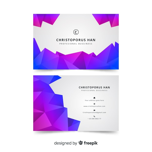 Polygonal abstract business card template Free Vector