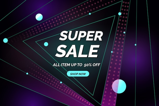 Polygonal abstract shapes of sales background Free Vector