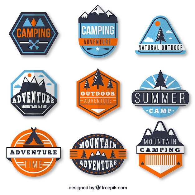 Polygonal adventure badges