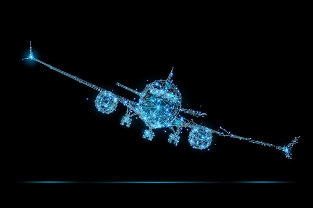 Полигональный авиалайнер low poly Premium векторы
