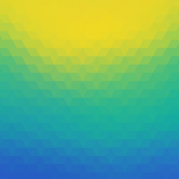 Polygonal background in blue, tuquoise and\ yellow tones
