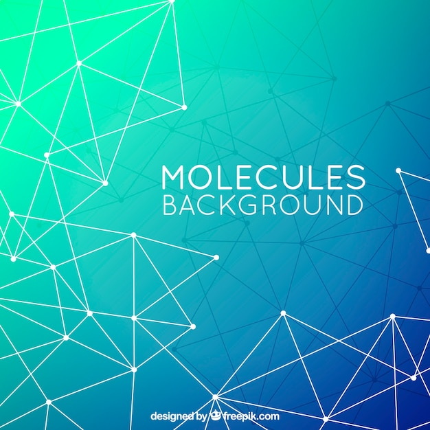 Polygonal background of molecules Free Vector