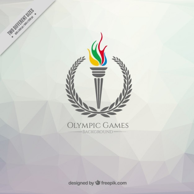 Polygonal background with a olympic games torch Free Vector