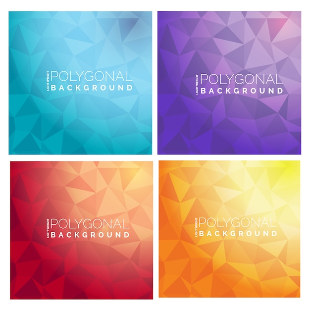 Polygonal backgrounds collection Free Vector