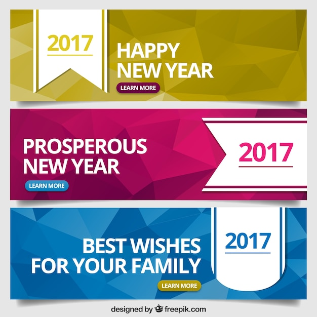 Polygonal banners set of new year Free Vector