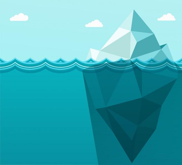 Polygonal big iceberg in ocean floating in sea waves. Premium Vector
