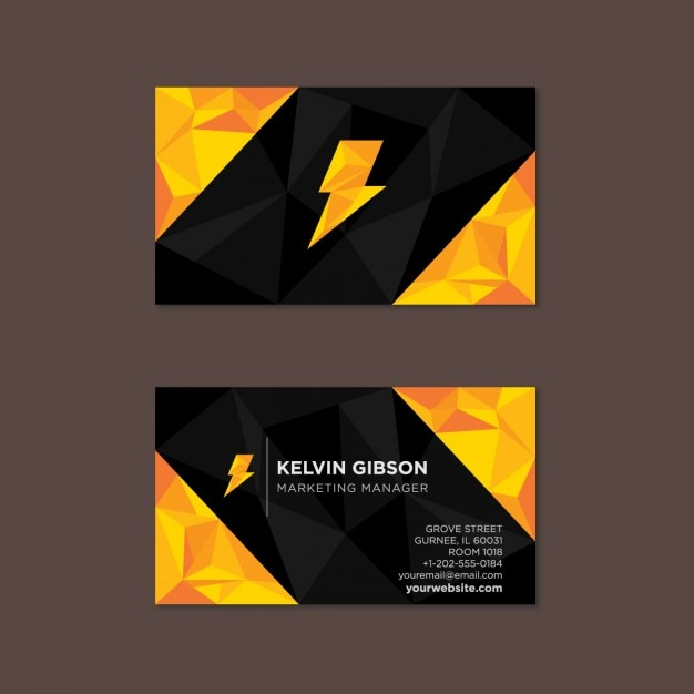 Polygonal black and yellow business card with a thunder vector polygonal black and yellow business card with a thunder free vector colourmoves
