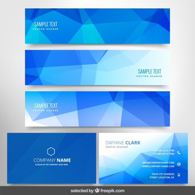 Polygonal blue business stationery Free Vector