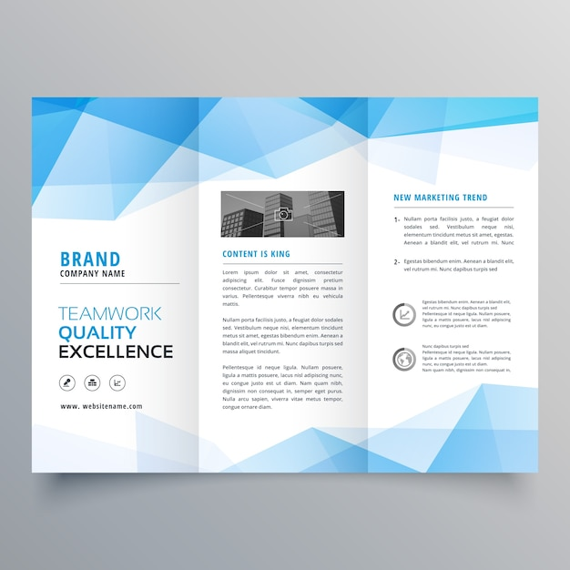 Polygonal blue trifold business brochure template vector for Trifold brochure template free