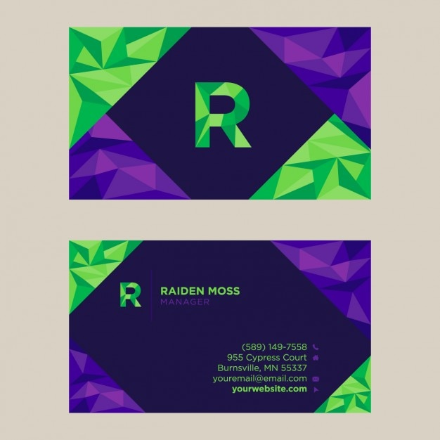 Polygonal business card design Free Vector