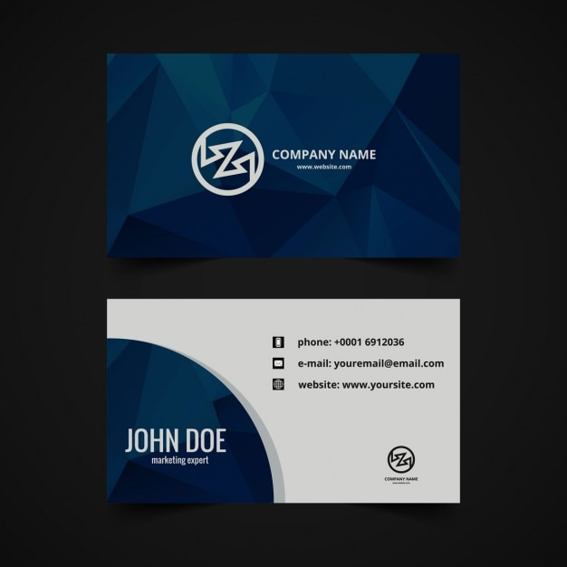 Polygonal business card in dark blue vector free download polygonal business card in dark blue free vector reheart Images
