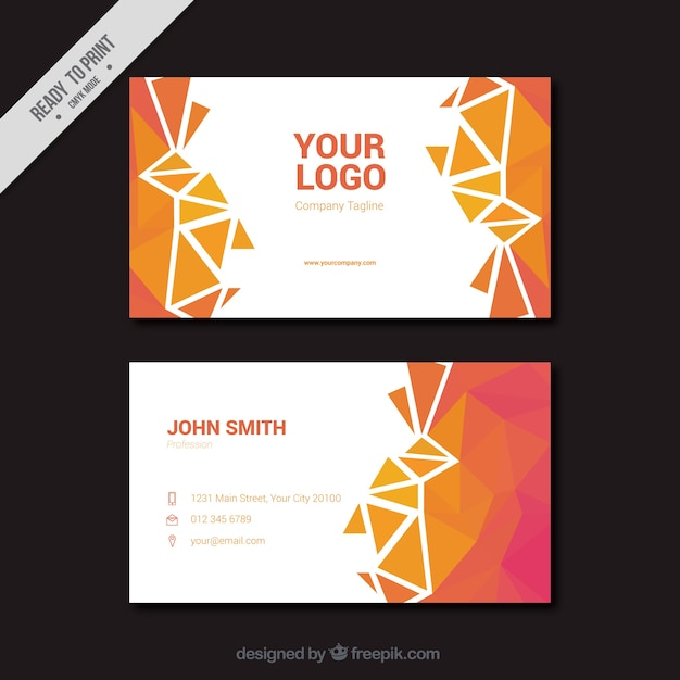 Polygonal business card in pink and orange tones Free Vector