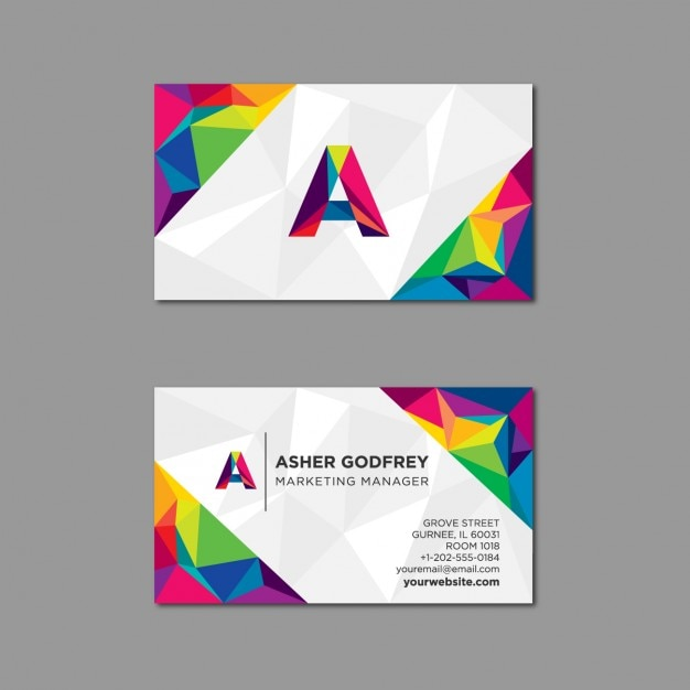 Polygonal Business Card In Multiple Colors Vector Free Download