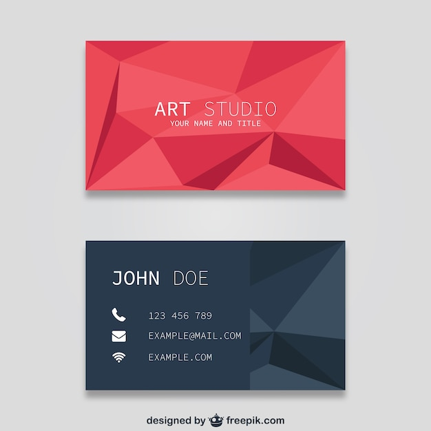 Polygonal Business Card Templates Vector Free Download - Free business card template download